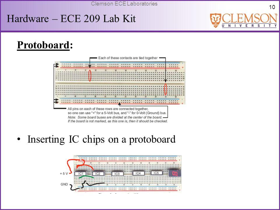 10 Clemson ECE Laboratories Hardware – ECE 209 Lab Kit Protoboard: Inserting IC chips on a protoboard