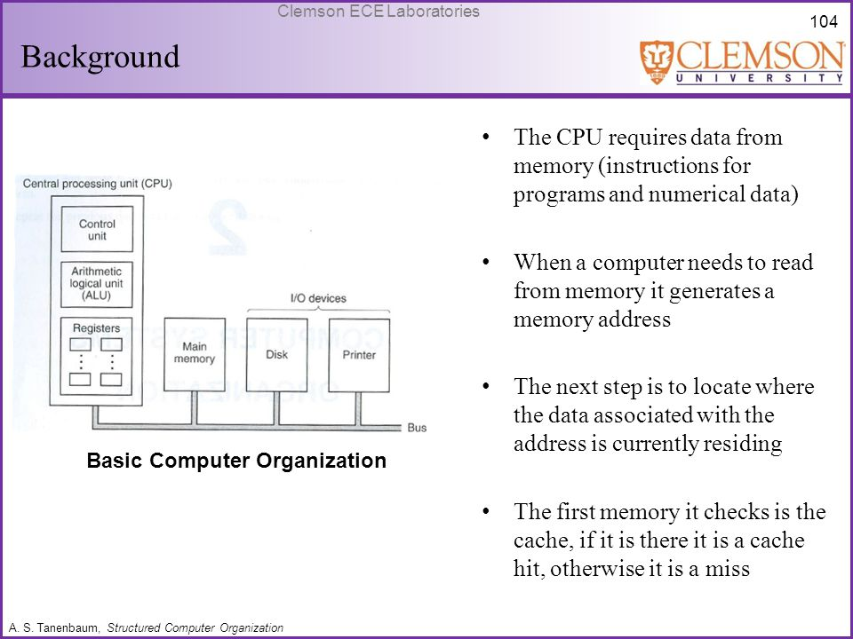 104 Clemson ECE Laboratories Background Basic Computer Organization The CPU requires data from memory (instructions for programs and numerical data) W