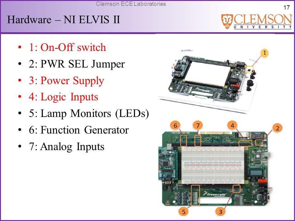 17 Clemson ECE Laboratories Hardware – NI ELVIS II 1: On-Off switch 2: PWR SEL Jumper 3: Power Supply 4: Logic Inputs 5: Lamp Monitors (LEDs) 6: Funct