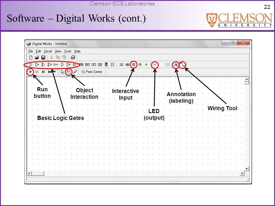 22 Clemson ECE Laboratories Software – Digital Works (cont.) Run button Object Interaction Basic Logic Gates Interactive Input LED (output) Annotation