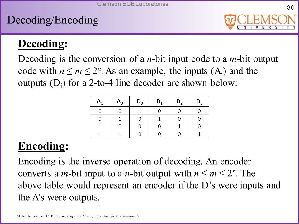 36 Clemson ECE Laboratories Decoding/Encoding Decoding: Decoding is the conversion of a n-bit input code to a m-bit output code with n ≤ m ≤ 2 n. As a