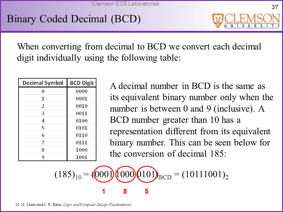 37 Clemson ECE Laboratories Binary Coded Decimal (BCD) When converting from decimal to BCD we convert each decimal digit individually using the follow