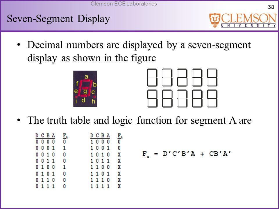 38 Clemson ECE Laboratories Seven-Segment Display Decimal numbers are displayed by a seven-segment display as shown in the figure The truth table and