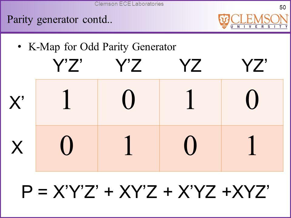 50 Clemson ECE Laboratories Parity generator contd.. K-Map for Odd Parity Generator 1010 0101 Y'Z'Y'ZYZYZ' X' X P = X'Y'Z' + XY'Z + X'YZ +XYZ'