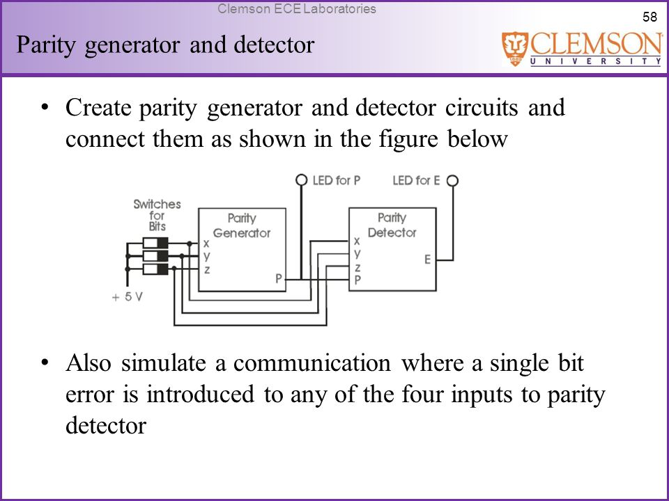 58 Clemson ECE Laboratories Parity generator and detector Create parity generator and detector circuits and connect them as shown in the figure below