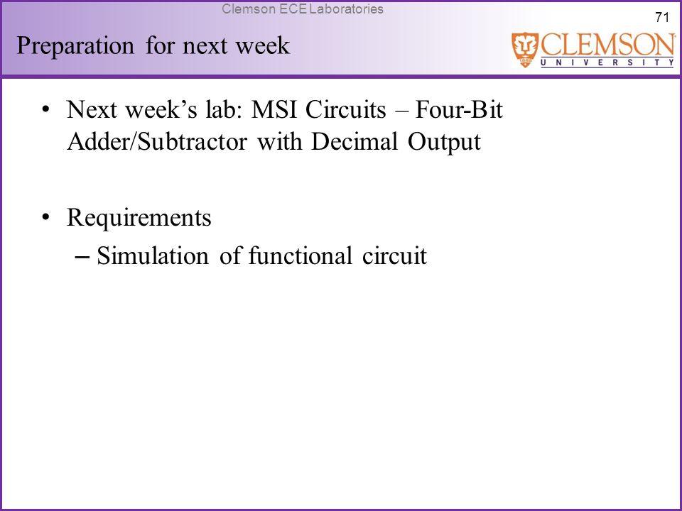 71 Clemson ECE Laboratories Preparation for next week Next week's lab: MSI Circuits – Four-Bit Adder/Subtractor with Decimal Output Requirements – Sim