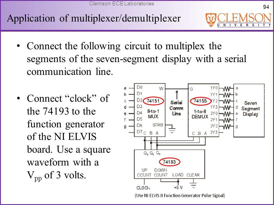 94 Clemson ECE Laboratories Application of multiplexer/demultiplexer Connect the following circuit to multiplex the segments of the seven-segment disp
