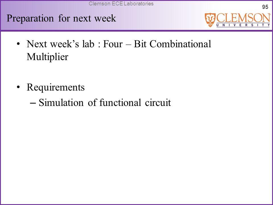 95 Clemson ECE Laboratories Preparation for next week Next week's lab : Four – Bit Combinational Multiplier Requirements – Simulation of functional ci