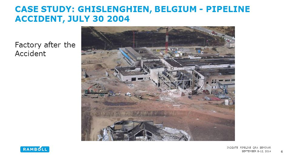 SEPTEMBER 8-12, 2014 INOGATE PIPELINE QRA SEMINAR CASE STUDY: GHISLENGHIEN, BELGIUM - PIPELINE ACCIDENT, JULY 30 2004 5 Pipeline diameter: 1016 mm Pipeline pressure at the accident: approx.
