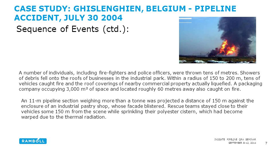 SEPTEMBER 8-12, 2014 INOGATE PIPELINE QRA SEMINAR CASE STUDY: GHISLENGHIEN, BELGIUM - PIPELINE ACCIDENT, JULY 30 2004 8 Sequence of Events (ctd.): The jet fire kept burning for about 20 minutes.