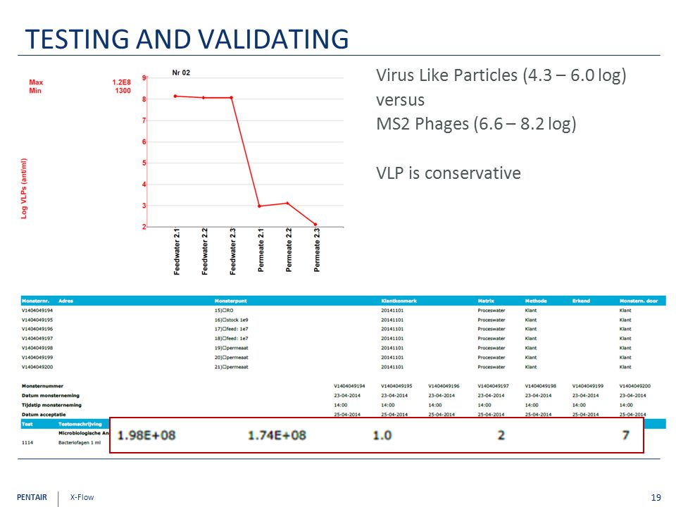 PENTAIR X-Flow Virus Like Particles (4.3 – 6.0 log) versus MS2 Phages (6.6 – 8.2 log) VLP is conservative 19 TESTING AND VALIDATING