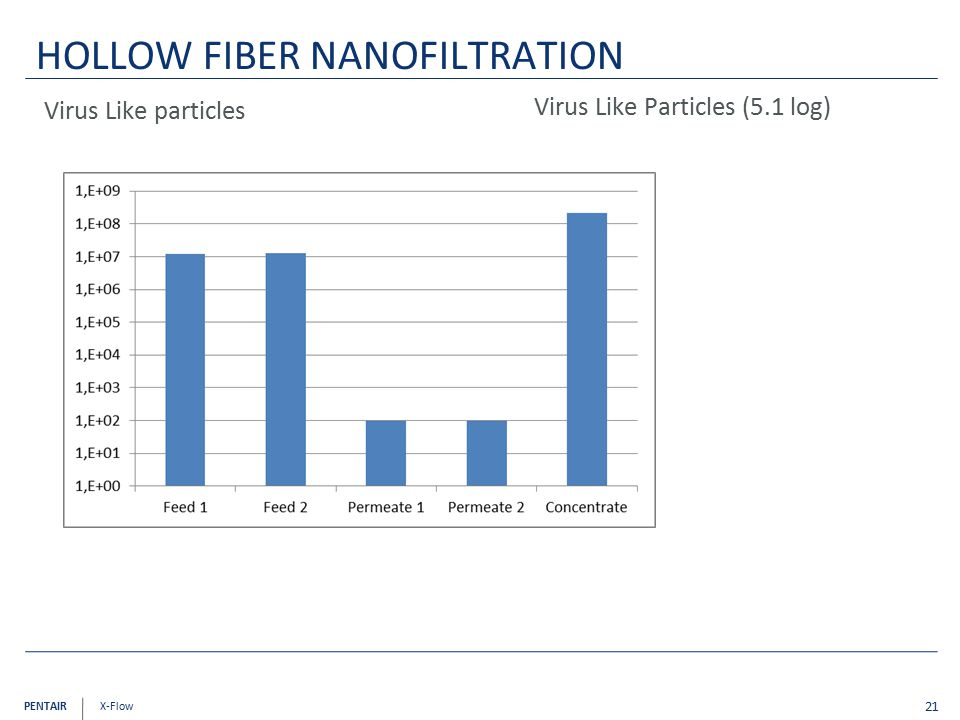 PENTAIR X-Flow Virus Like particles 21 HOLLOW FIBER NANOFILTRATION Virus Like Particles (5.1 log)