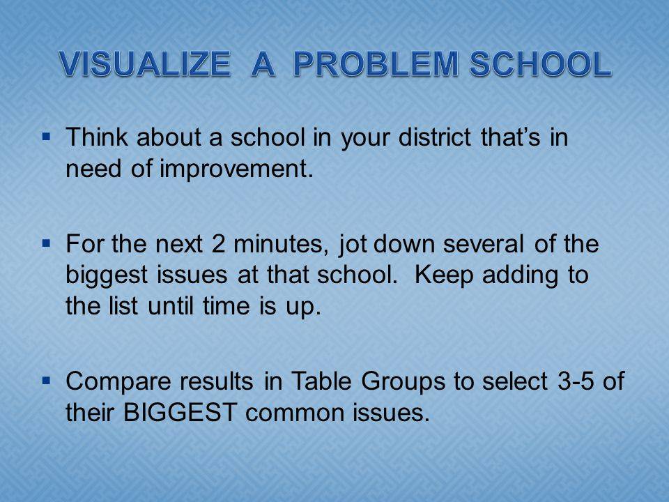  Think about a school in your district that's in need of improvement.