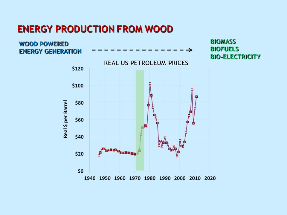 ENERGY PRODUCTION FROM WOOD REAL US PETROLEUM PRICES WOOD POWERED ENERGY GENERATION BIOMASSBIOFUELSBIO-ELECTRICITY