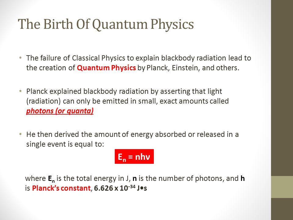The Birth Of Quantum Physics The failure of Classical Physics to explain blackbody radiation lead to the creation of Quantum Physics by Planck, Einste