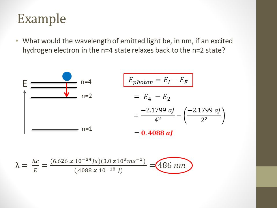Example What would the wavelength of emitted light be, in nm, if an excited hydrogen electron in the n=4 state relaxes back to the n=2 state? n=4 n=1