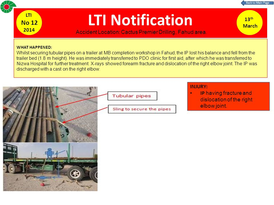 LTI Notification 13 th March LTI No 12 2014 WHAT HAPPENED: Whilst securing tubular pipes on a trailer at MB completion workshop in Fahud, the IP lost his balance and fell from the trailer bed (1.8 m height).