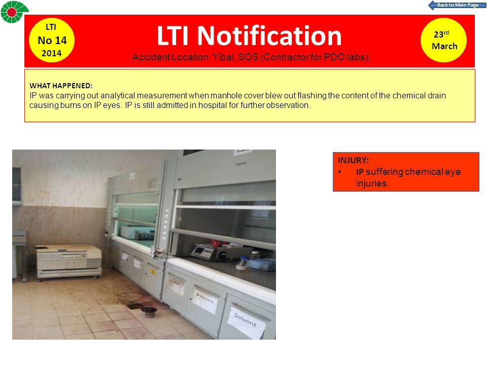 LTI Notification WHAT HAPPENED: IP was carrying out analytical measurement when manhole cover blew out flashing the content of the chemical drain causing burns on IP eyes.