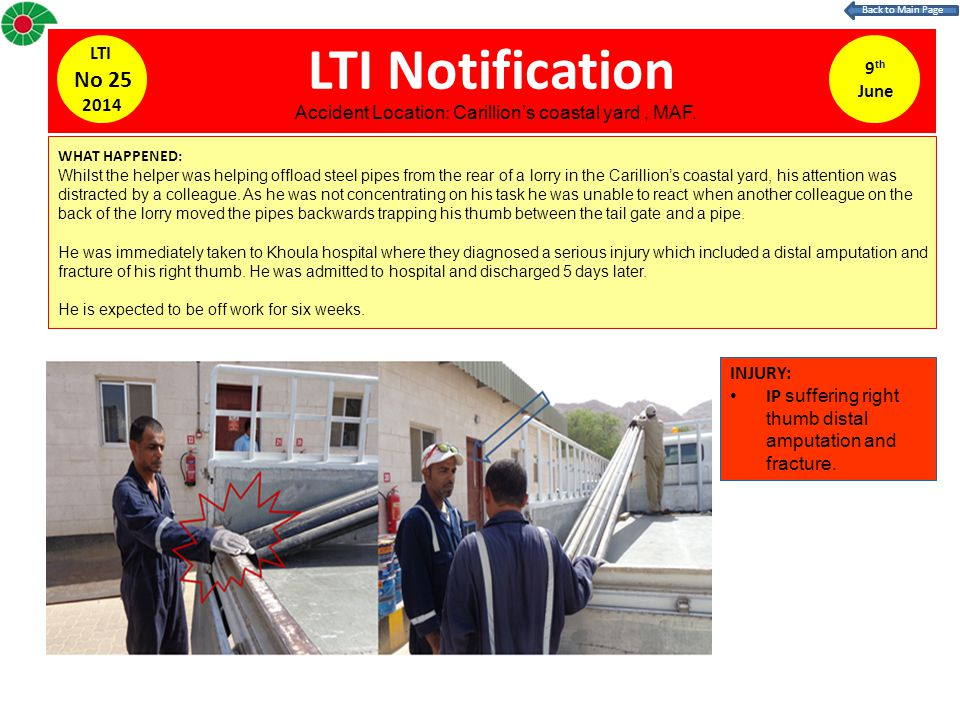 LTI Notification WHAT HAPPENED: Whilst the helper was helping offload steel pipes from the rear of a lorry in the Carillion's coastal yard, his attention was distracted by a colleague.