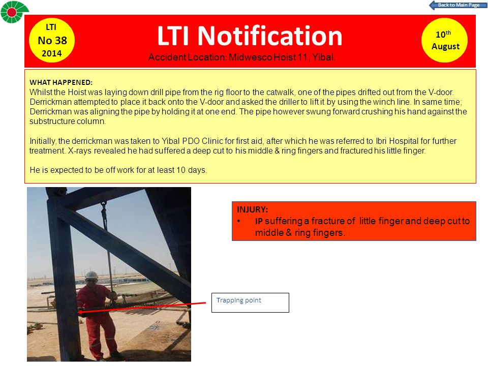 LTI Notification WHAT HAPPENED: Whilst the Hoist was laying down drill pipe from the rig floor to the catwalk, one of the pipes drifted out from the V-door.