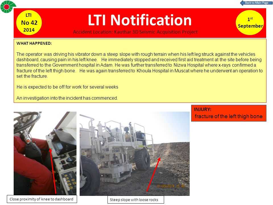 LTI Notification WHAT HAPPENED: The operator was driving his vibrator down a steep slope with rough terrain when his left leg struck against the vehicles dashboard, causing pain in his left knee.