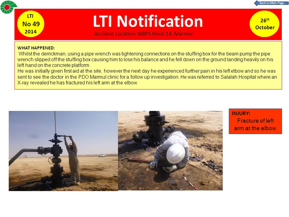 LTI Notification WHAT HAPPENED: Whilst the derrickman, using a pipe wrench was tightening connections on the stuffing box for the beam pump the pipe wrench slipped off the stuffing box causing him to lose his balance and he fell down on the ground landing heavily on his left hand on the concrete platform.