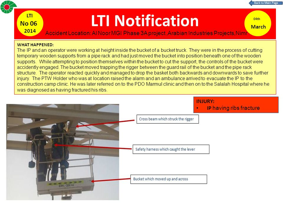 LTI Notification 04th March LTI No 06 2014 WHAT HAPPENED: The IP and an operator were working at height inside the bucket of a bucket truck.
