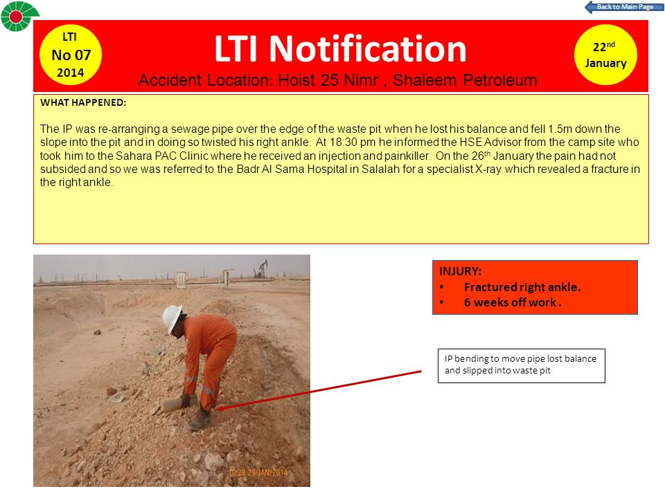 LTI Notification 22 nd January LTI No 07 2014 WHAT HAPPENED: The IP was re-arranging a sewage pipe over the edge of the waste pit when he lost his balance and fell 1.5m down the slope into the pit and in doing so twisted his right ankle.