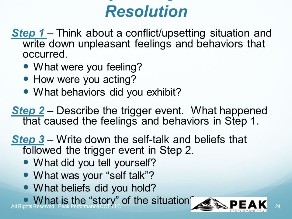 24 Emotionally Intelligent Conflict Resolution Step 1 – Think about a conflict/upsetting situation and write down unpleasant feelings and behaviors that occurred.