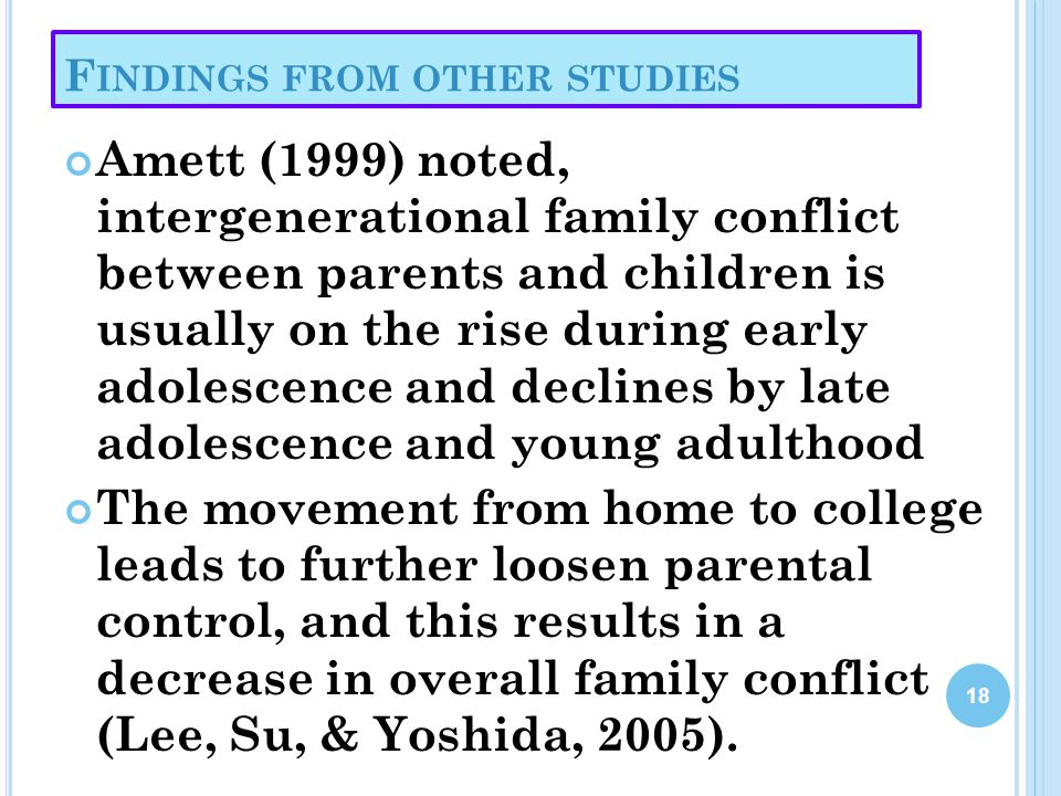 F INDINGS FROM OTHER STUDIES Amett (1999) noted, intergenerational family conflict between parents and children is usually on the rise during early ad