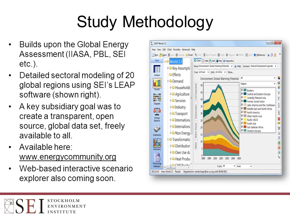 Study Methodology Builds upon the Global Energy Assessment (IIASA, PBL, SEI etc.).