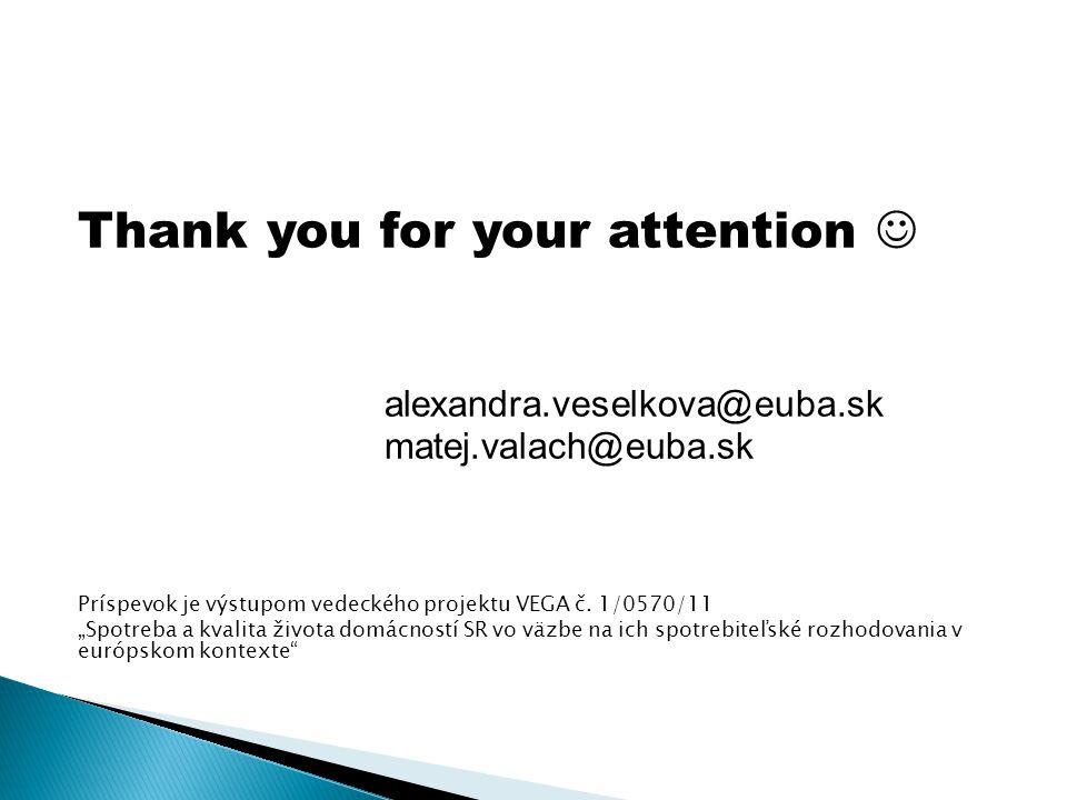 """Thank you for your attention alexandra.veselkova@euba.sk matej.valach@euba.sk Príspevok je výstupom vedeckého projektu VEGA č. 1/0570/11 """"Spotreba a k"""