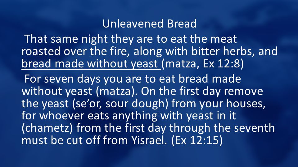 Unleavened Bread That same night they are to eat the meat roasted over the fire, along with bitter herbs, and bread made without yeast (matza, Ex 12:8
