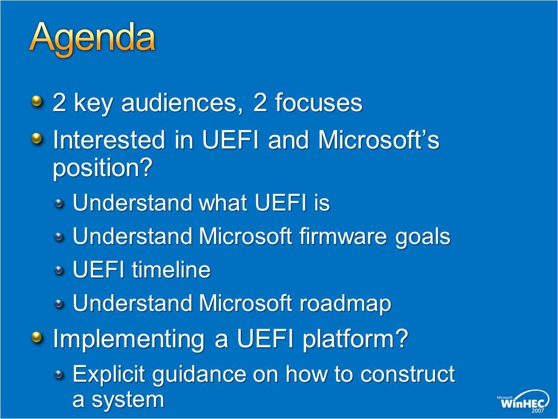 Windows Server codename Longhorn UEFI plug-fest Ecosystem maturing Various mature base implementations UEFI 2.1 released Windows Vista released UEFI plug-fest More platform support, parity with BIOS Emerging driver support