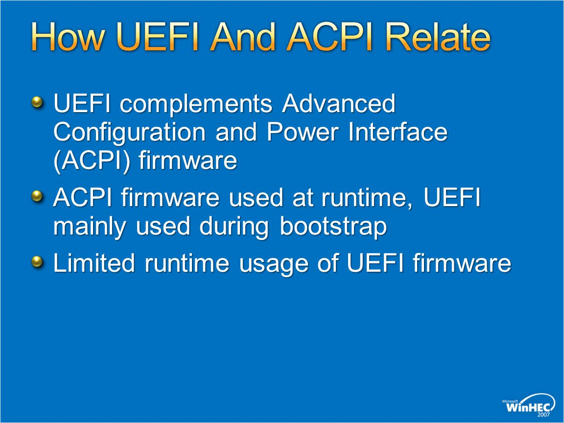Image Deployment for UEFI is similar to image deployment on BIOS Capture the Windows partition image Run setup.exe to deploy image on target All details taken care of for you If you deploy offline, you must deploy Windows partition and ESP Extra steps detailed in whitepaper