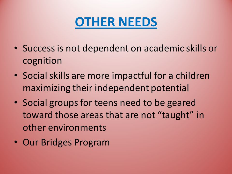 OTHER NEEDS Success is not dependent on academic skills or cognition Social skills are more impactful for a children maximizing their independent potential Social groups for teens need to be geared toward those areas that are not taught in other environments Our Bridges Program