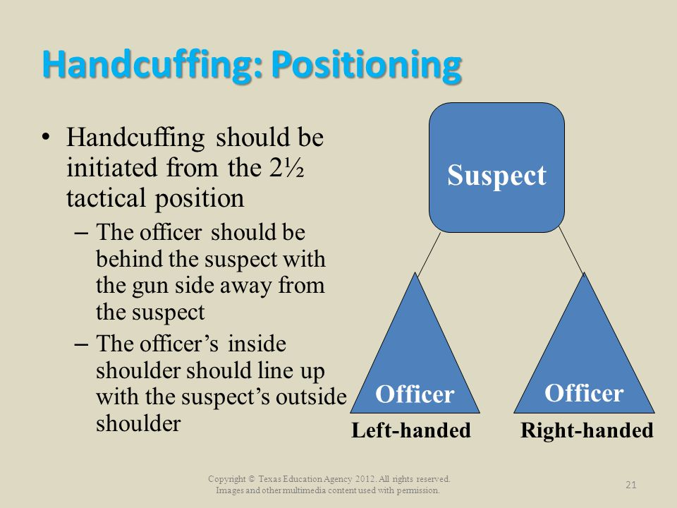 Copyright © Texas Education Agency 2012. All rights reserved. Images and other multimedia content used with permission. Handcuffing: Positioning Handc