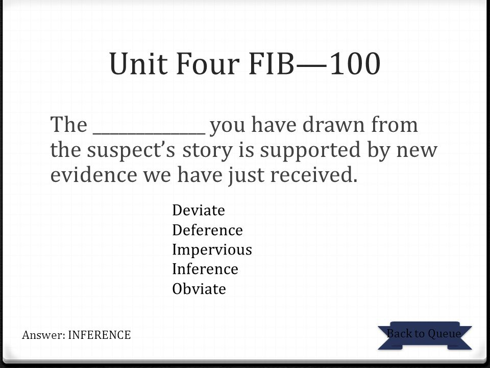 Unit Four FIB—100 The _____________ you have drawn from the suspect's story is supported by new evidence we have just received. Back to Queue Answer:
