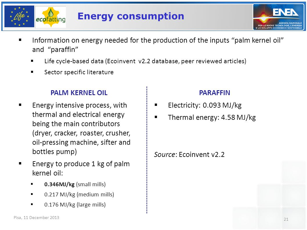 Pisa, 11 December 2013 21 Energy consumption  Information on energy needed for the production of the inputs palm kernel oil and paraffin  Life cycle-based data (Ecoinvent v2.2 database, peer reviewed articles)  Sector specific literature PALM KERNEL OIL  Energy intensive process, with thermal and electrical energy being the main contributors (dryer, cracker, roaster, crusher, oil-pressing machine, sifter and bottles pump)  Energy to produce 1 kg of palm kernel oil:  0.346MJ/kg (small mills)  0.217 MJ/kg (medium mills)  0.176 MJ/kg (large mills) PARAFFIN  Electricity: 0.093 MJ/kg  Thermal energy: 4.58 MJ/kg Source: Ecoinvent v2.2