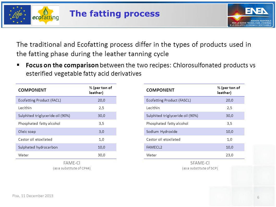Pisa, 11 December 2013 6 The fatting process The traditional and Ecofatting process differ in the types of products used in the fatting phase during t