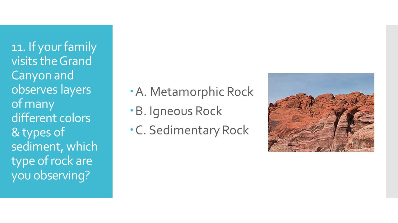 11. If your family visits the Grand Canyon and observes layers of many different colors & types of sediment, which type of rock are you observing? A