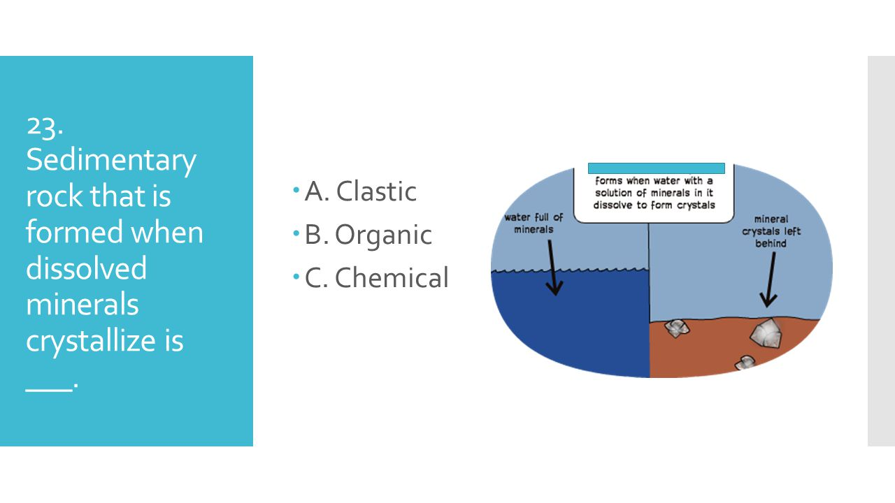 23. Sedimentary rock that is formed when dissolved minerals crystallize is ___. AA. Clastic BB. Organic CC. Chemical