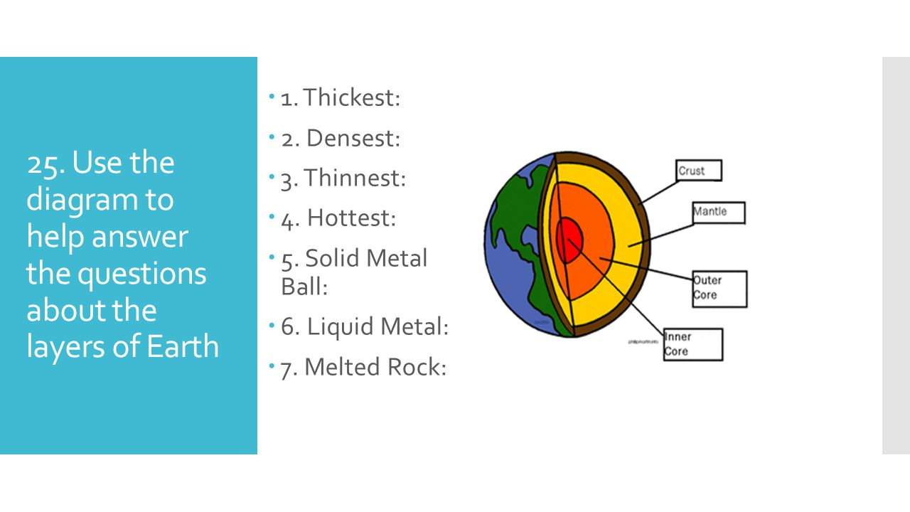 25. Use the diagram to help answer the questions about the layers of Earth  1. Thickest:  2. Densest:  3. Thinnest:  4. Hottest:  5. Solid Metal
