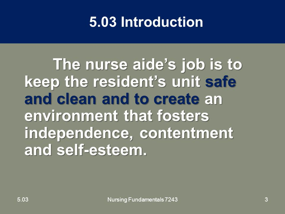 145.03Nursing Fundamentals 7243 Environmental Control – Faulty Equipment and Unsafe Conditions Leaks in bathrooms – wipe up and report Burned out light bulbs - report Faulty call signals – replace immediately Defective furniture – remove if possible and report
