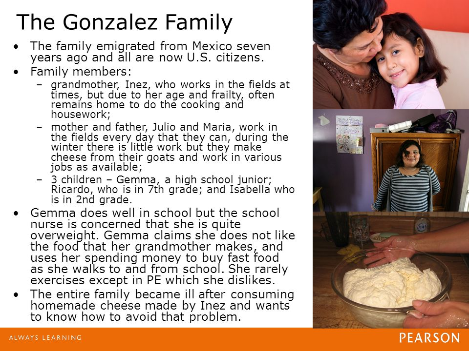 The Gonzalez Family The family emigrated from Mexico seven years ago and all are now U.S. citizens. Family members: –grandmother, Inez, who works in t