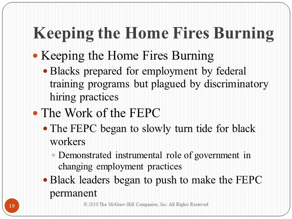 Keeping the Home Fires Burning Blacks prepared for employment by federal training programs but plagued by discriminatory hiring practices The Work of