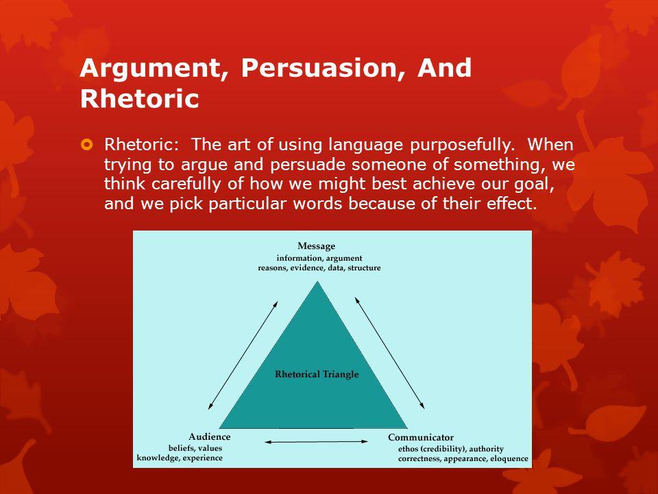 Argument, Persuasion, And Rhetoric  Rhetoric: The art of using language purposefully.