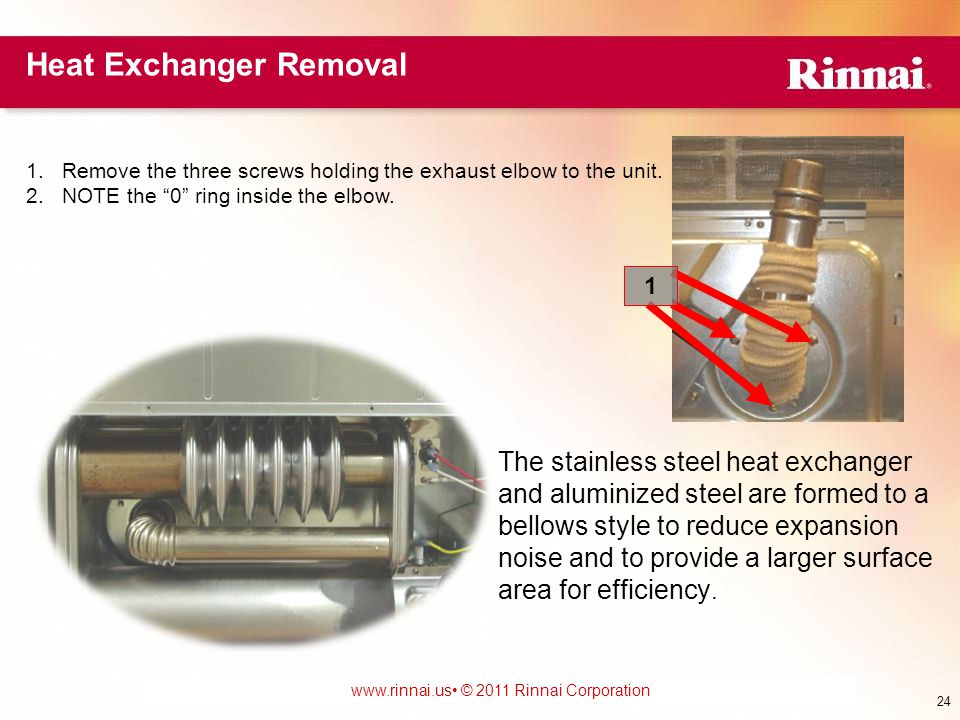 www.foreverhotwater.comwww.foreverhotwater.com www.comfortableheatingsolutions.com © 2007 Rinnai Corporation www.rinnai.us © 2011 Rinnai Corporation The stainless steel heat exchanger and aluminized steel are formed to a bellows style to reduce expansion noise and to provide a larger surface area for efficiency.