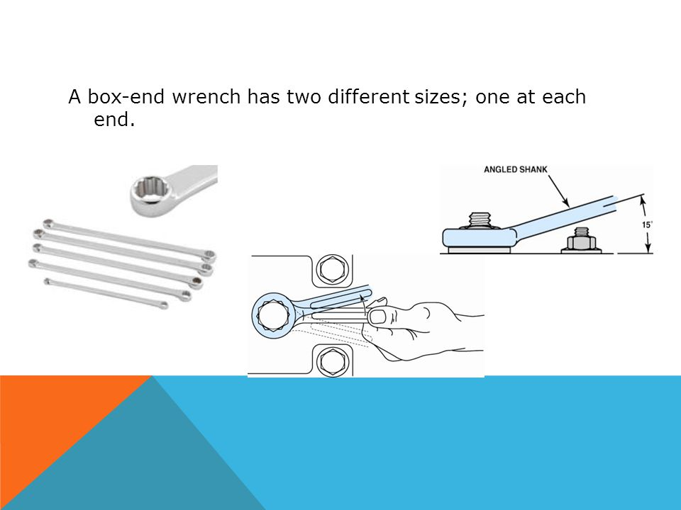 A box-end wrench has two different sizes; one at each end.