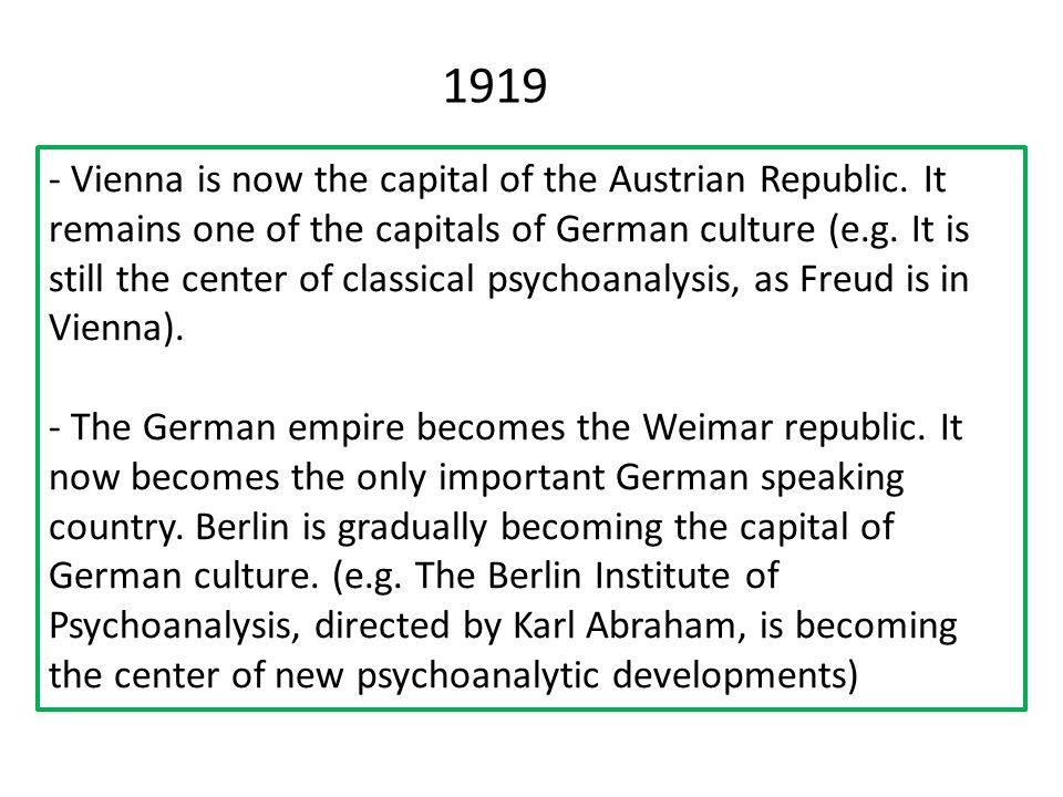 - Vienna is now the capital of the Austrian Republic.